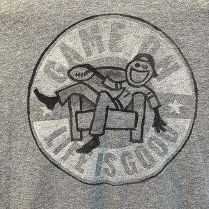 Life Is Good Game On Mens T Shirt Gray XL